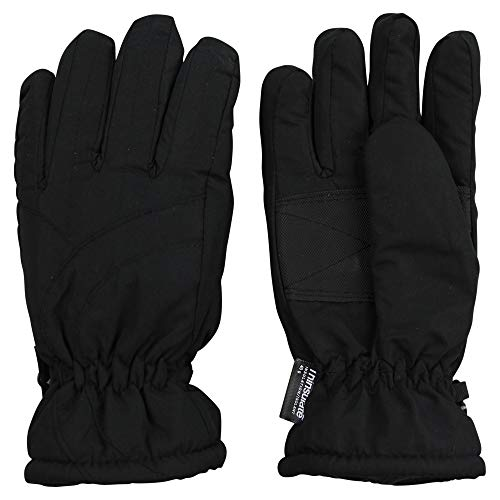 Womens/Girls Warm Winter Waterproof Thinsulate Snow Gloves (Black, Large)