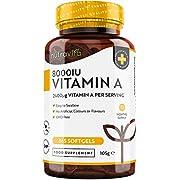 Vitamin A 8000 IE – 365 Kapseln, Ein Jahr Lieferung - Zur Gesunderhaltung von Immunsystem, Sehvermögen und Haut – 2.400 μg Vitamin A pro Weichkapsel – Hergestellt von Nutravita