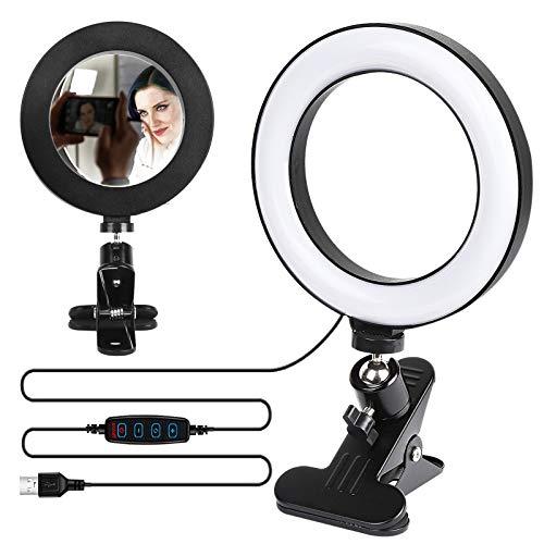 Ringlicht Laptop, Mini Videolicht mit 48 LEDs Stream Beleuchtung Selbstübertragung, Computer- und Laptop- Videokonferenzen