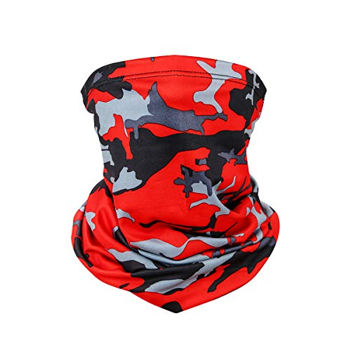 Balaclava Face Mask Bandana Sun UV Protection Neck Gaiter Mask Magic Scarf Neck Gaiter Windproof Scarf for Sport&Outdoor (Bright Red Camo)