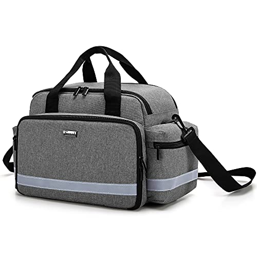 Trunab Medical Supplies Bag, Nurse Bag with Handle and Shoulder Strap for Home Health Care, Hospice Visit, Travel, or Emergency Event, Grey, Bag ONLY