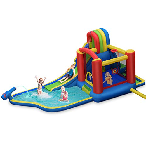 BOUNTECH Inflatable Water Slide, 9 in 1 Jump Bounce House w/ Long Slide, Climbing Wall, Water Cannon, Splash Pool, Tunnel, Including Carry Bag Repair Kit Stakes Hose Ocean Balls (Without Blower)