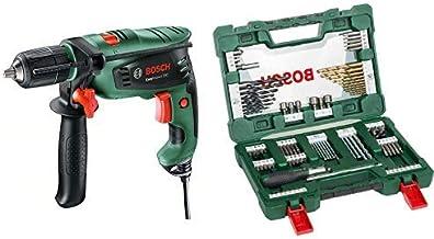 Bosch EasyImpact 550 - Taladro percutor + Bosch V-Line Titanio - Maletín de 91 unidades