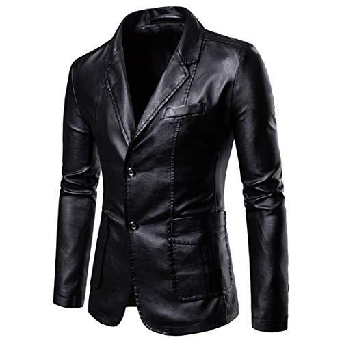 NLZQ Chaqueta de piel para hombre de estilo motero, de doble botón, piel de vacuno auténtica, estilo vintage, con bolsillos A-negro. M