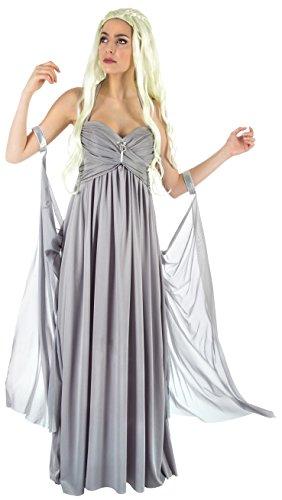 Mutter der Drachen Damen Hochzeitskleid Kostüm für Game of Thrones Daenerys Fans grau - M