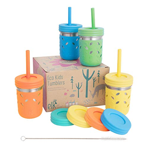 Elk and Friends Stainless Steel Cups | Mason Jar 10oz | Kids & Toddler Cups with Silicone Sleeves & Silicone Straws with Stopper | Sippy cups, Spill proof cups for Kids, Smoothie Cups