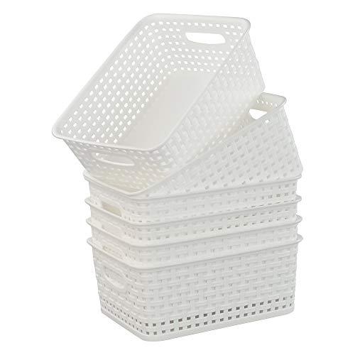 Mayish Weiße Aufbewahrungskörbe aus Kunststoff, 6 Packungen