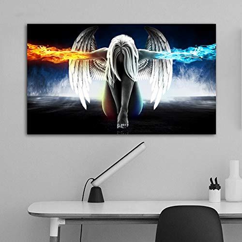 BailongXiao Cuadro En Lienzo Anime Angel Girl con alas de Hielo y Fuego póster en imágenes Decorativas para la habitación decoración del hogar75x125cmPintura sin Marco