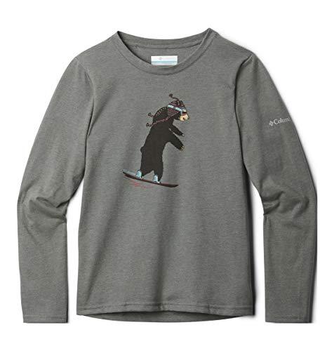 Columbia Jungen Animal AnticsLong Sleeve Shirt Hemd, Anthrazit Heather Bear Grafik, XS