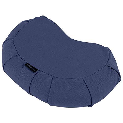 Retrospec Sedona Zafu Meditation Cushion Filled w/Buckwheat Hulls - Yoga Pillow for Meditation Practices - Machine Washable 100% Cotton Cover & Durable Carry Handle; Crescent, Midnight