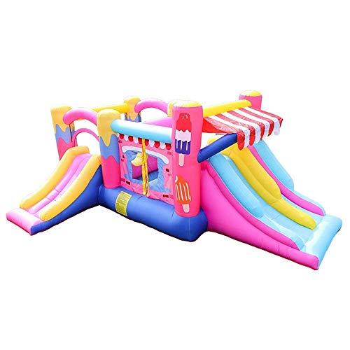 YLJYJ Castillo Hinchable Inflable, colchón de Aire Grande para niños, Cama, trampolín, Castillo de Fiesta, tobogán Inflable Travieso al Aire Libre para Indo