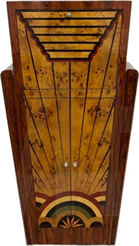 Casa Padrino Art Deco Barschrank Vogelaugenahorn/Mahagony - Handgefertigt aus Massivholz - Zimmer Bar Minibar Whiskey Schrank