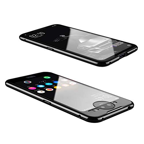 Vivo NEX Dual Display Case, UBERANT Metal Frame & Tempered Glass Back 2 in 1 Ultra-Thin Clear Luxury Scratch Resistant Shockproof Magnetic Adsorption Case for Vivo NEX Dual Display 6.39' Black