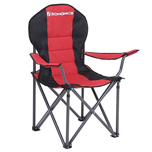 SONGMICS Campingstuhl, klappbar, Klappstuhl, komfortabler mit Schaumstoff gepolsterter Sitz, mit Flaschenhalter, hoch belastbar, max. Belastbarkeit 250 kg, Outdoor Stuhl, rot GCB06BK