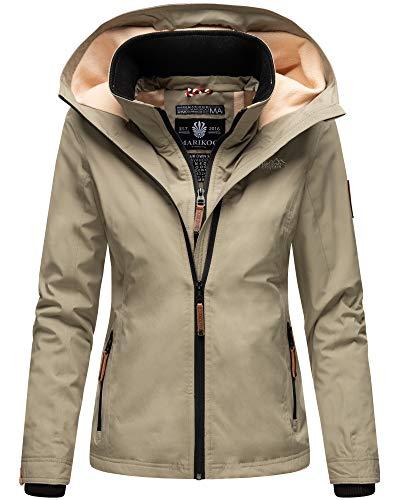 Marikoo Damen Regen Jacke Winter Übergang Jacke Warm Fleece Leicht ERD181 (Large, Stone Grey)