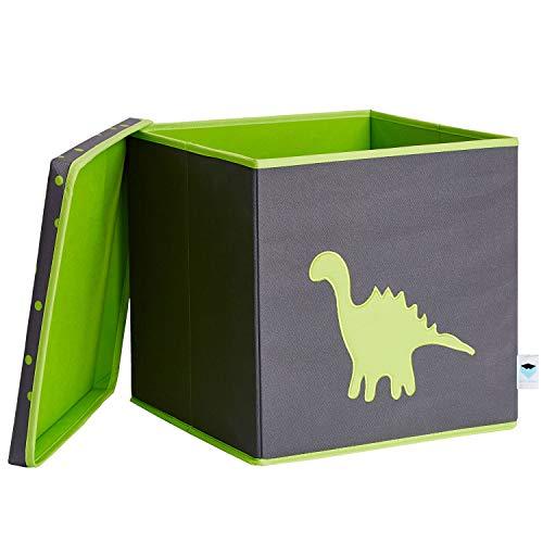 STORE.IT Spielzeugkiste mit Deckel | Dino | extra stabil - MDF verstärkt | 33x33x33cm | grau - grün