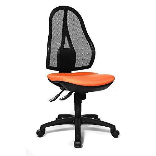 Topstar Bürodrehstuhl, Punktsynchron-Mechanik und Bandscheibensitz - ohne Armlehnen, Netzrückenlehne schwarz - Bezug orange - Bandscheibendrehstuhl Bandscheibendrehstühle Bürodrehstuhl Bürodrehstühle Bürostuhl Bürostühle Drehstuhl Drehstühle
