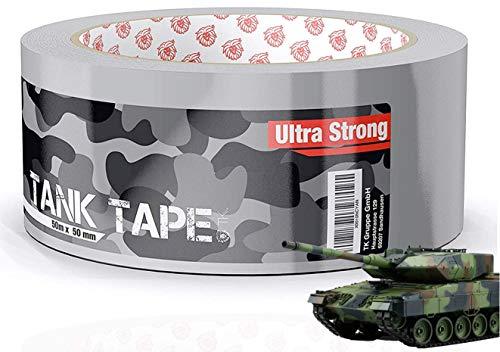 Panzertape Tank Tape 2.0 - Gewebeklebeband 50 Meter * 50 mm, ultrastark & witterungsbeständig Klebeband Reperaturband Gewebeband Duct Tape silber (1x Stück)