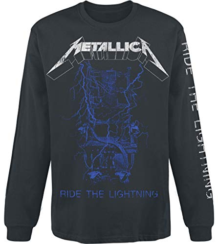 Metallica Fade Hombre Camiseta Manga Larga Negro L, 100% algodón, Regular