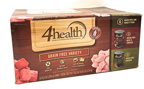4health, Tractor Supply Company, Grain Free Adult Wet Dog Food, All Breeds, 6 Can Variety Pack, 3 Cans Beef & Chicken + 3 Cans Chicken