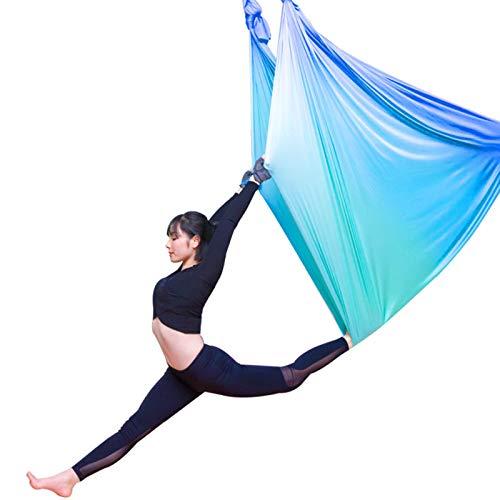 Juego de columpio de yoga aéreo, equipo de sedas, kit de hamaca de alta calidad, kit de iniciación de yoga, equipo de danza aérea (L: 5 m x ancho): 2,8 m, color azul