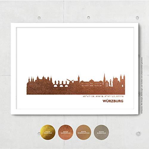 Würzburg Skyline Bild Wandeko, Personalisierte Geschenkidee für Besondere Anlässe in S/W Rose Gold Silber Kupfer - Pesönlicher Text & Rahmen A4/A3