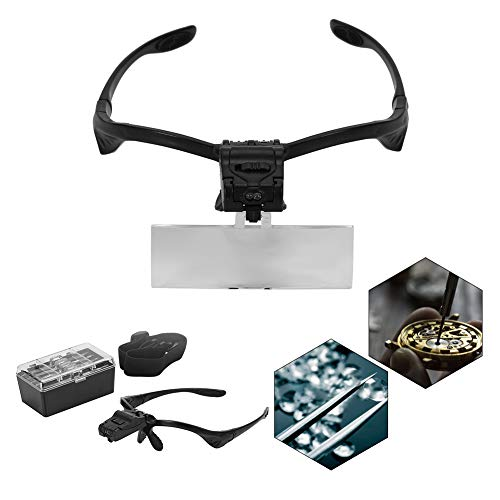 Lupenbrille Hände Frei Kopfband Lupen Standlupe,Vergrößerungsglas für den Kopf, LED-Vergrößerungsglas, Vergrößerungsglas, für Uhr, Reparatur, Wimpernverlängerung