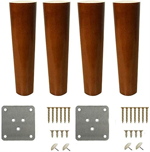 Kaidanwang Furniture Legs Replacement Table Legs Set of 4 Solid Wood Furniture Legs Sofa Feet Brass Foot Cover TV Desk Table Legs Kitchen Feet Cabinet Legs (Size : 20cm/7.9in)