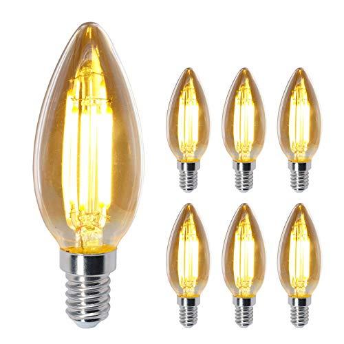 Bombilla LED retro con filamentos, iluminación vintage de color amarillo cálido, ideal para casa, cafetería, bar, restaurante, boda, decoración, etc., 6 unidades (intensidad no regulable)