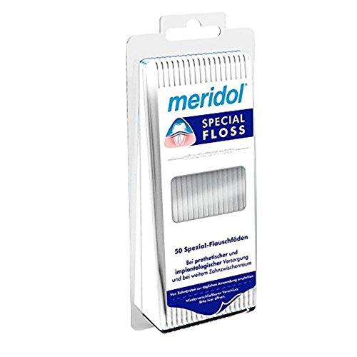 meridol special-floss Spezial-Flauschfäden 50 Stück, 2er Pack (2x 50 Fäden)