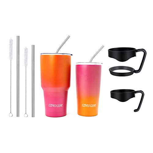 Ezprogear 20 oz 30 oz Stainless Steel Vacuum Insulated Double Wall Tumbler with Straws and Handle (20 oz & 30 oz, Orange/Fuchsia)