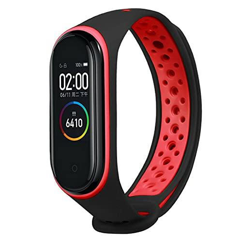 WWXFCA Correa transpirable para Xiaomi Mi Band 3 4 Smart Watch Muñeca M3 M4 Plus Pulsera para Xiaomi MiBand 3 4 Miband Correa de repuesto (color de la correa: negro rojo)