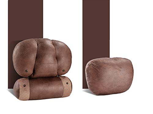 PAMIR TONG Car Seat Leathaire Neck Pillow, Headrest Cushion for Neck Pain Relief&Cervical Support, Travel Neck Pillow Sleeping Seat Rest Pillow (Oval Brown)