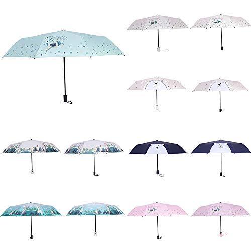Dylandy Parapluie Pliable Motif élan avec Dessous Noir Protection UV légère et Robuste Compact et Portable, Pink Moose2, 56 cm