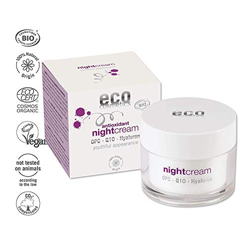 eco cosmetics Bio Nightcream Nachtcreme mit OPC, Q10 und Hyaluronsäure, vegane Anti Faltencreme 1x 50ml
