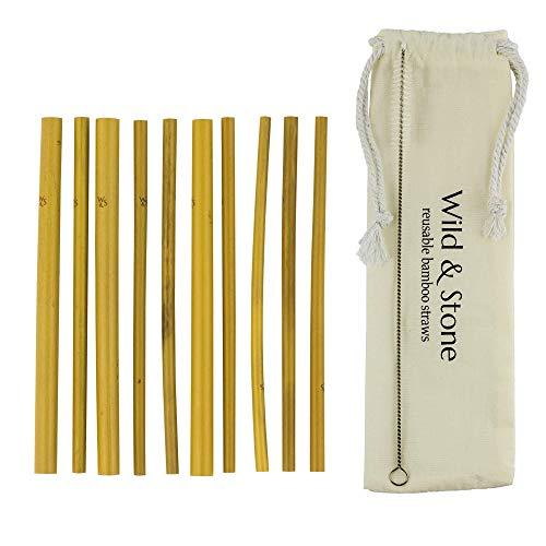 Wild & Stone | Cannucce Riutilizzabili di Bambù Organiche | 3 larghezze - 3 Piccole, 4 Medie, e 3 Grandi | Confezione da 10 Cannucce con Custodia in Lino | Vegan Ecologico e Lavabile in Lavastoviglie