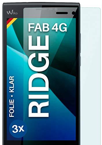 moex Klare Schutzfolie kompatibel mit Wiko Ridge Fab 4G - Bildschirmfolie kristallklar, HD Bildschirmschutz, dünne Kratzfeste Folie, 3X Stück
