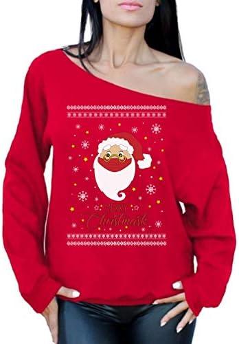 Off the Shoulder Tops Funny Xmas Holiday Santa 6 Feet Away Quarantine 2020 Ugly Christmas Sweaters