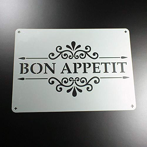 Schablone Bon Appetit Schriftzug Ornament - BO64