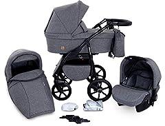 Boston 3 i 1 Kombi – barnvagn Barnvagn Buggy bilbarnstol Carlo (B1-Grå jeans)