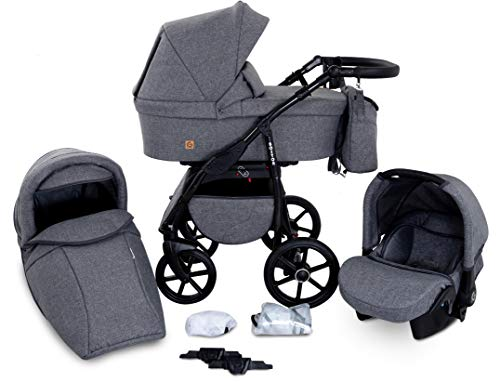 Boston 3 in 1 Kombi Kinderwagen Liegewanne Buggy Autositz Carlo (B1-Grey jeans)