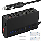 180W High-Power Cigarette Lighter Splitter 3 Socket with Cigarette Lighter Function, Quick Charge 3.0 12 Volt USB Outlet 4-Port Adapter with LED Voltmeter Power Switch for Dash Cam Radar Detector etc