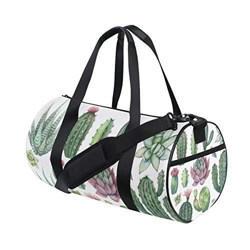 Bolsa de deporte de gimnasio con acuarela Cactus viaje bolsa de viaje para mujer