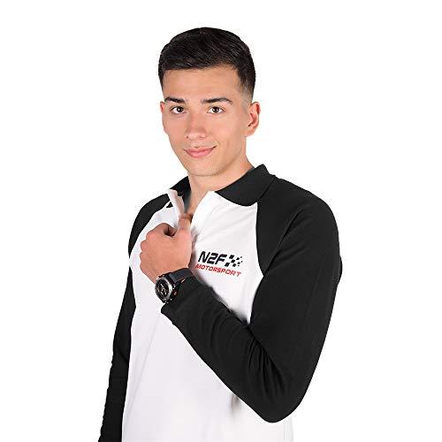 Nine2five Polo N2F Motorsport Manga Larga (Blanco y Negro, Mediana)