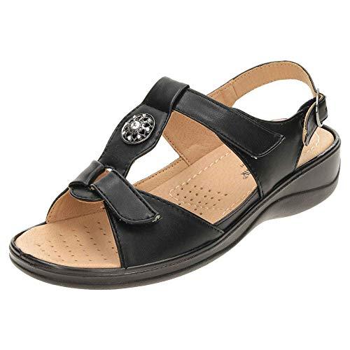 Cushion Walk Women's Star Sandals Slingback Wedge Black 5 UK