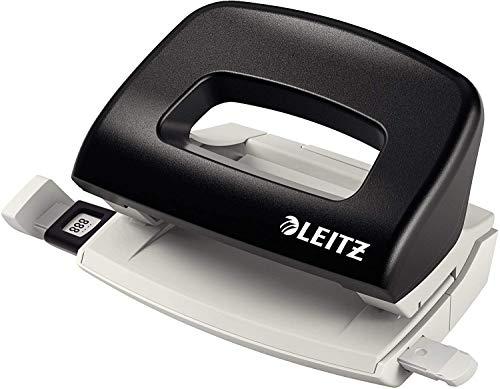 Leitz NeXXt Mini-Locher für das Büro, 10 Blatt, Anschlagschiene mit Formatangaben, Metall, Schwarz, 50580095
