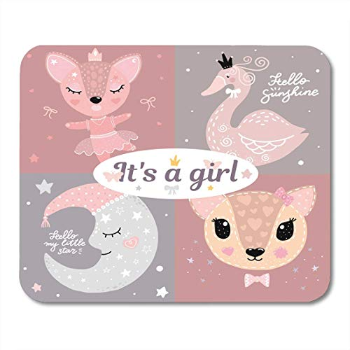 Mouse Pads Abstract Black Cute Girl Room Baby Deer Swan Moon Ballet Pink Young Arrival Mouse Pad for Notebooks,Desktop Computers Mouse Mats, Office Supplies