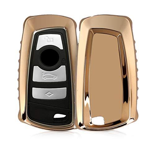 kwmobile Autoschlüssel Hülle kompatibel mit BMW 3-Tasten Funk Autoschlüssel (nur Keyless Go) - TPU Schutzhülle Schlüsselhülle Cover in Hochglanz Gold