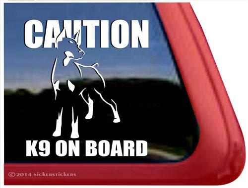 Caution - K9 Onboard ~ Doberman Pinscher Vinyl Window Auto Decal Sticker