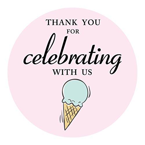 magjuche Eis Thank You Aufkleber, Eis Mottoparty Aufkleber Etiketten für Gastgeschenken, Dekorationen, 5,1cm rund, 40er